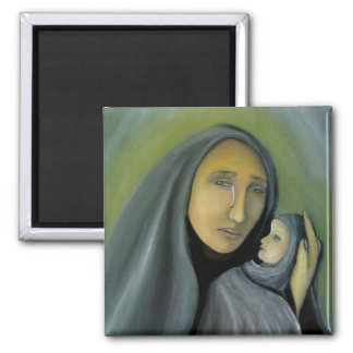 Virgin Mary Holding Baby Jesus Religious Xmas Magnet