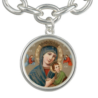 Virgin Mary holding Child Jesus icon bracelet