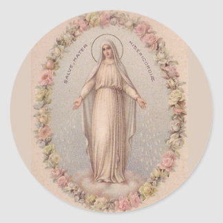 Virgin Mary Mother of Mercy Roses Classic Round Sticker