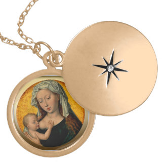 Virgin Mary Nursing the Christ Child Gold Plated Necklace
