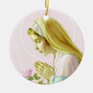 Virgin Mary Prayer _Pink Rose_Ornament Ceramic Ornament
