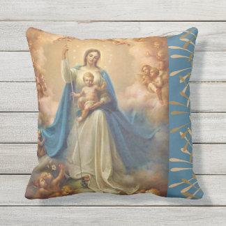 Virgin Mary Queen of the Angels Outdoor Pillow