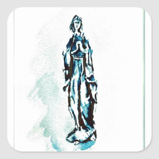 Virgin Mary Standing Graphic Square Stickers