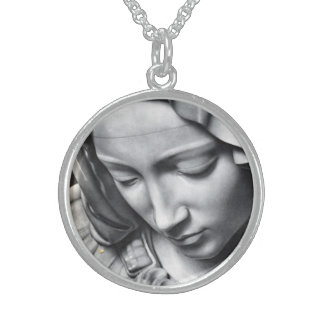 Virgin Mary Sterling Silver Pendant Necklace