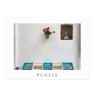 Virgin Mary street altar in Puglia white postcard