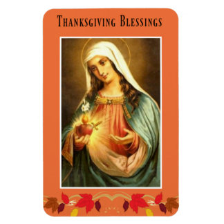 Virgin Mary Thanksgiving Blessings Autumn Leaves Magnet
