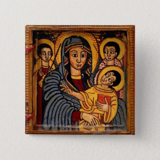 Virgin Mary the Theotokos Ethiopian Icon 2 Inch Square Button