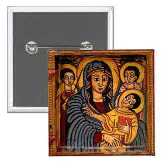 Virgin Mary the Theotokos Ethiopian Icon 2 Inch Square Button
