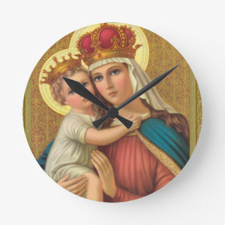 Virgin Mary w/Child Jesus Acrylic Wall Clock Gift
