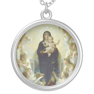Virgin Mary with Baby Jesus and Angels Silver Plated Necklace