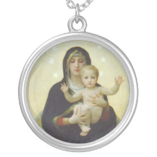 Virgin Mary with Baby Jesus Silver Plated Necklace