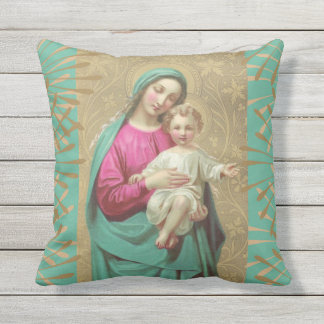 Virgin Mary with Christ Child Jesus Outdoor Pillow