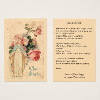 Virgin Mary with Vintage Floral Memorare Holy Card