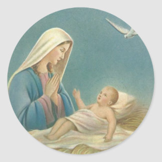 Virgin Mother Mary and Baby Jesus Classic Round Sticker