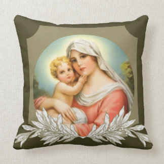 Virgin Mother Mary Baby Jesus Branch Border Throw Pillow