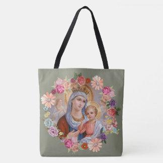 Virgin Mother Mary Baby Jesus Floral Angels Crown Tote Bag