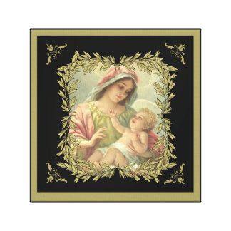 Virgin Mother Mary Baby Jesus Gold Border Canvas Print