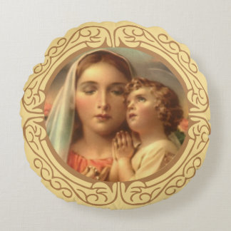 Virgin Mother Mary Baby Jesus Gold Border Round Pillow