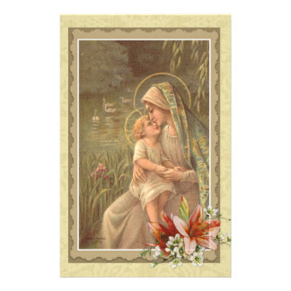 Virgin Mother Mary Baby Jesus Lily Geese Stationery