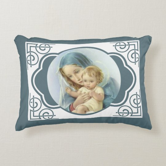 Virgin Mother Mary with Baby Jesus Accent Pillow