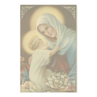Virgin Mother Mary with Baby Jesus Daisies Stationery