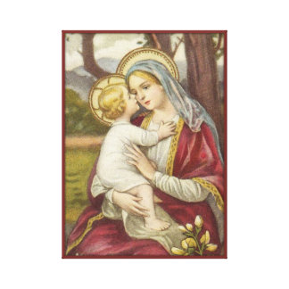 Virgin Mother Mary with Baby Jesus Flower Red Canvas Print