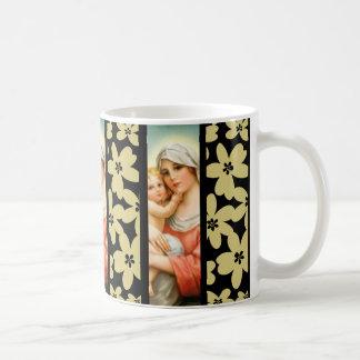 Virgin Mother Mary with Baby Jesus Flowers Coffee Mug