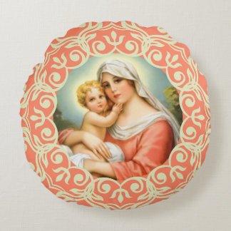 Virgin Mother Mary with Baby Jesus Lace Peach Round Pillow