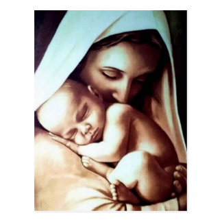 Virgin Mother Mary with Baby Jesus Postcard