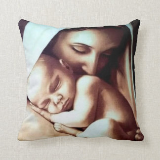 Virgin Mother Mary with Baby Jesus Throw Pillow