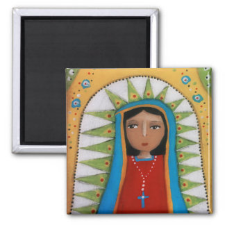Virgin of Guadalupe on ochre Magnet