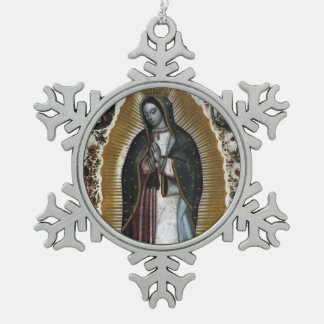 Virgin Of Guadalupe, Our Lady Snowflake Pewter Christmas Ornament