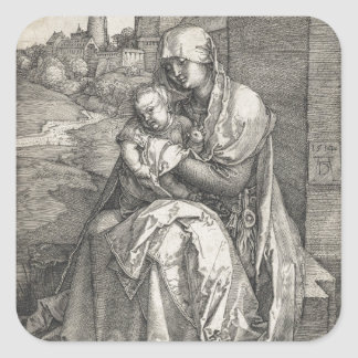 Virgin Sitting by a Wall by Albrecht Durer Square Sticker