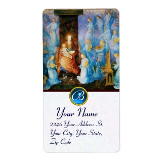 VIRGIN WITH CHILD -CONCERT OF ANGELS MONOGRAM SHIPPING LABELS