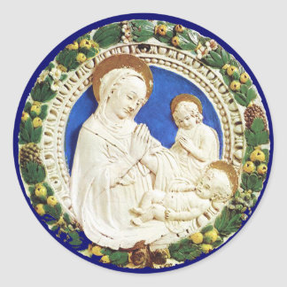 VIRGIN WITH CHILD,Floral Christmas Crown Classic Round Sticker