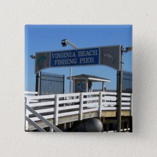 Virginia Beach Fishing Pier 2 Inch Square Button