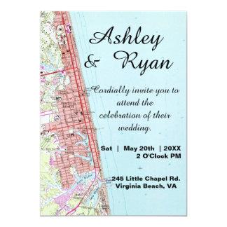 Virginia Beach Map Wedding Invitation