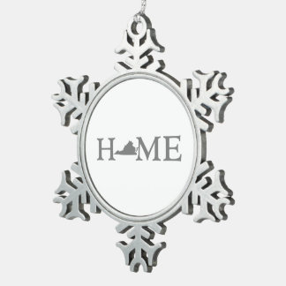 Virginia Home State Snowflake Pewter Christmas Ornament