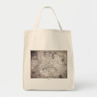 Virginia Map, 1612 Grocery Tote Bag