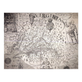 Virginia Map, 1612 Postcard