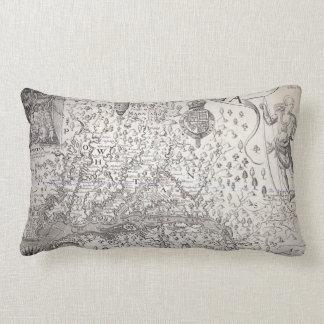 Virginia Map, 1612 Throw Pillows