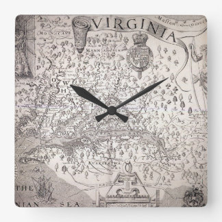 Virginia Map, 1612 Wall Clocks