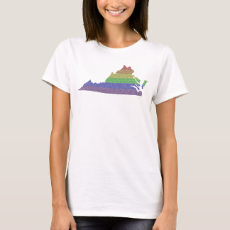 Virginia Rainbow Pride Flag Mosaic For Her T-Shirt