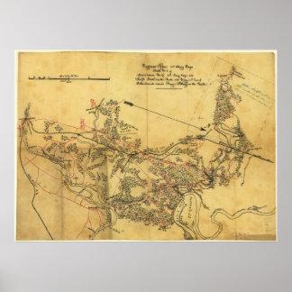 Virginia Roads Civil War Map Poster