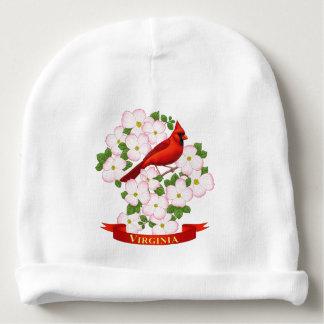 Virginia State Cardinal Bird and Dogwood Flower Baby Beanie