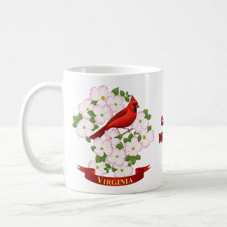 Virginia State Cardinal Bird and Dogwood Flower Coffee Mug