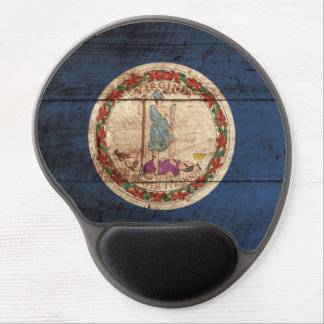 Virginia State Flag on Old Wood Grain Gel Mouse Mat