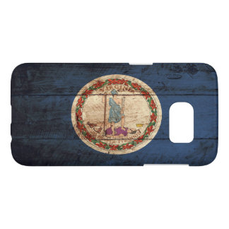 Virginia State Flag on Old Wood Grain Samsung Galaxy S7 Case
