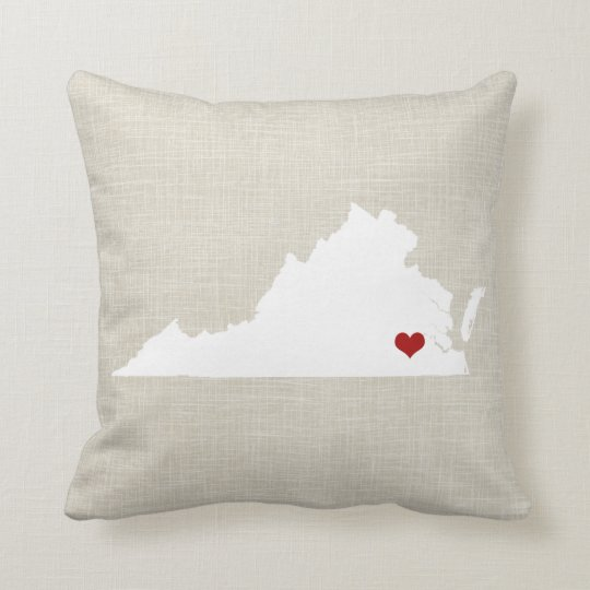 Virginia State Pillow Faux Linen Personalized