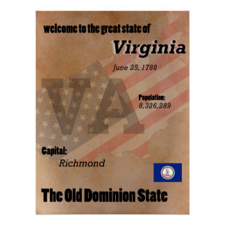Virginia The Old Dominion State Classic Poster